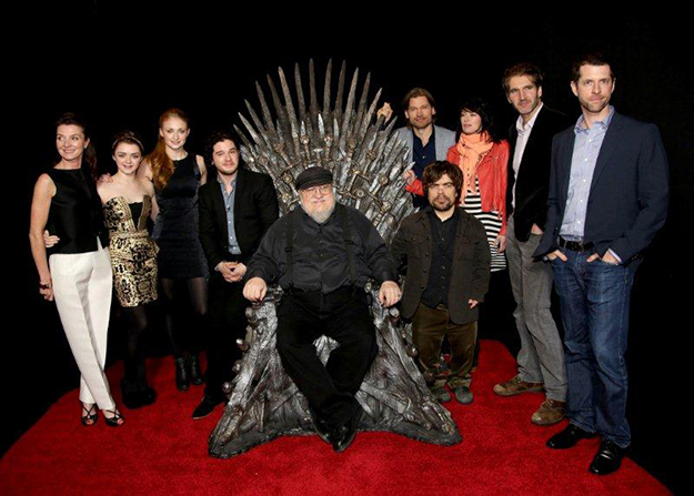 Michelle Fairley, Maisie Williams, Sophie Turner, Kit Haringston, George R.R. Martin, Peter Dinklage, Nikolaj Coster-Waldau, Lena Heady, David Benioff and D. B. Weiss_PictureGroup